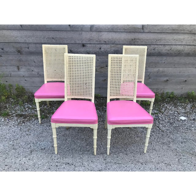 1970s Hickory Faux Bamboo and Cane Pink Side/Dining Chairs - Set of 4 For Sale - Image 5 of 11