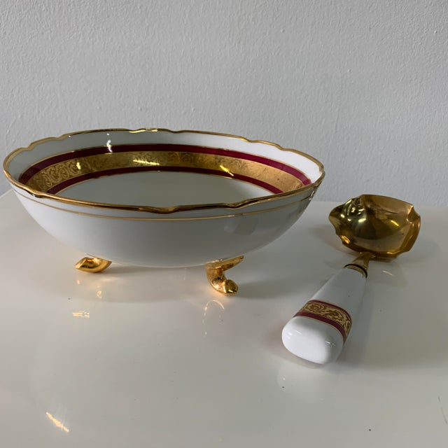Traditional Vintage Limoges France Footed Bowl and Ladle For Sale - Image 3 of 13