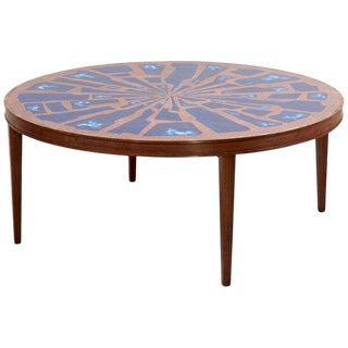 Stunning Rare Wood Coffee Table With Copper and Enamel Style Top by Behr For Sale