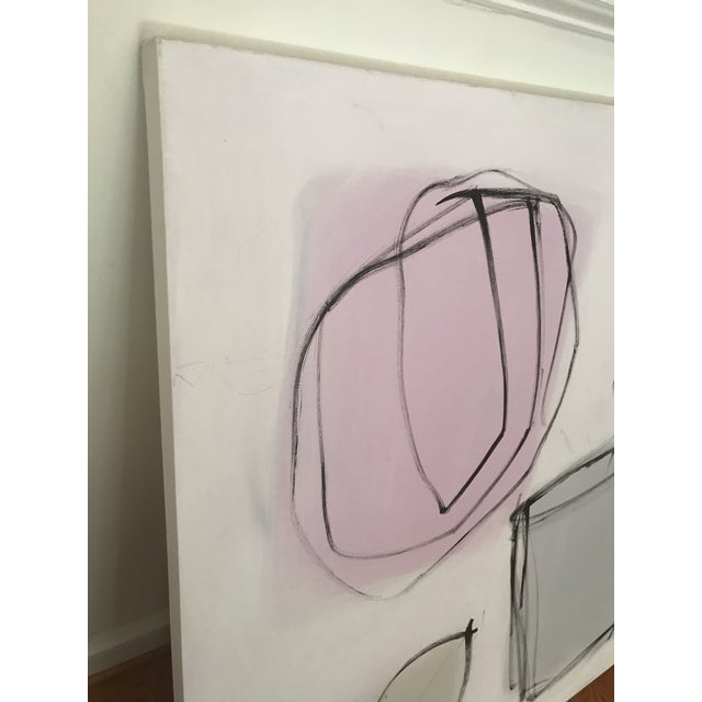 """Sarah Trundle Sarah Trundle, """"Grey Pot"""", Contemporary Abstract Floral Painting For Sale - Image 4 of 6"""