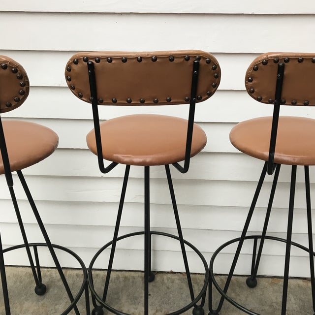 Vintage Mid-Century Frederick Weinberg Style Iron Hairpin Bar Stools- Set of 4 For Sale In Denver - Image 6 of 13