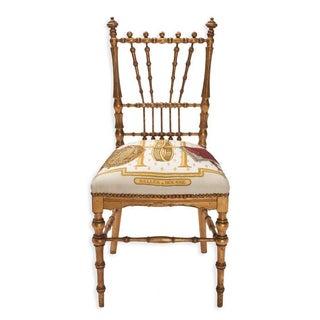 Gold Gilded Ballroom Chair Upholstered in Hermès Silk