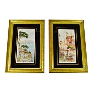 Vintage Framed Venice Watercolor Prints - Arthur a Kaplan Italian Cityscape Venice Canal Prints - Set of 2 For Sale