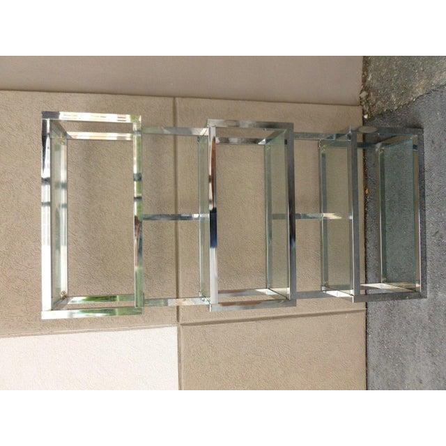 Pair of Mod Space Age Chromed Aluminum Rectangular Cubed Étagères For Sale - Image 4 of 13