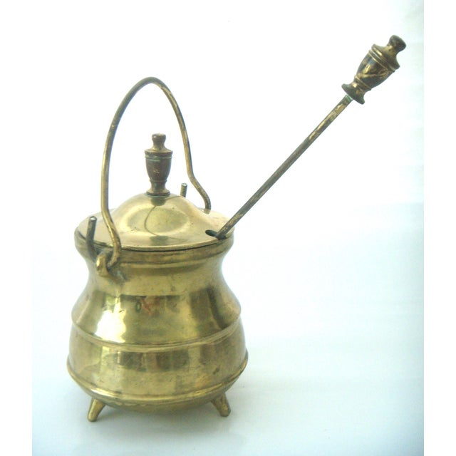 Vintage Brass Coal Scuttle & Pumice Fireplace Lighting Set - Image 5 of 8