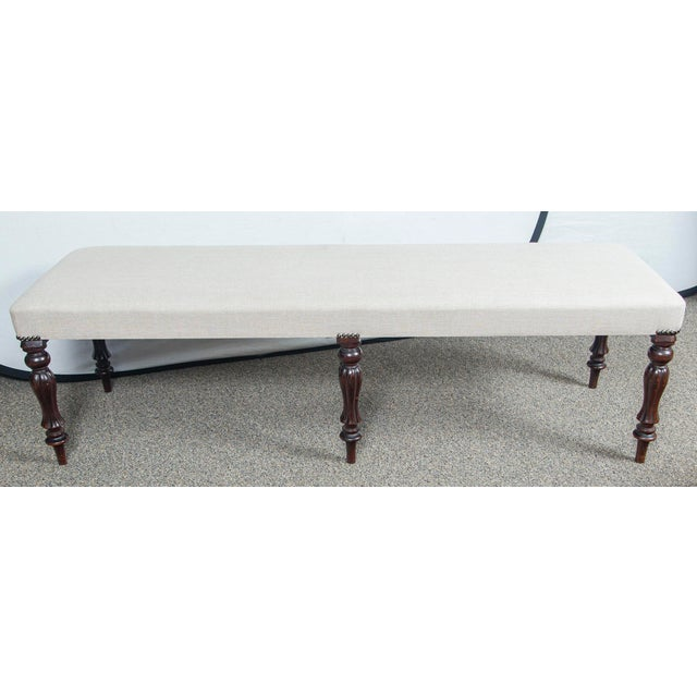Early 20th Century Early 20th Century Vintage English Mahogany Gray Upholstered Bench For Sale - Image 5 of 5