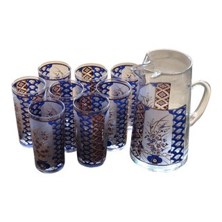Culver Ltd. Tom Collins Asian Style 22k Gold Floral Tumbler Glasses With Pitcher - Set of 9