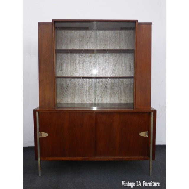 Vintage Mid Century Modern Hutch Display Cabinet With Etched Glass
