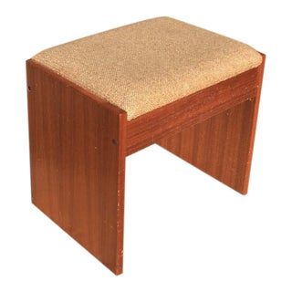 Danish Modern Upholstered Teak Vanity Stool For Sale