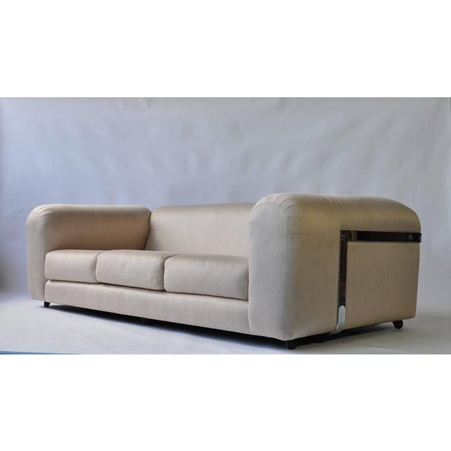 Exceptional 1970s chrome sofa. Great scale and very comfortable. Click on image for larger image and actual scale.