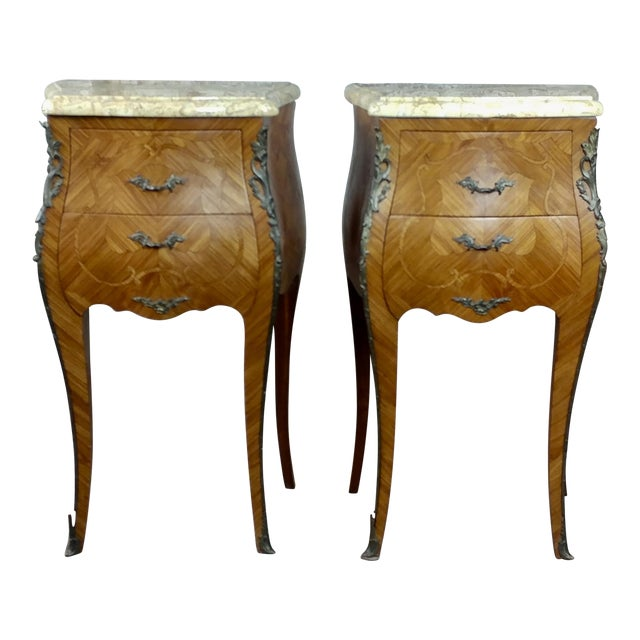 French 19th Century Marquetry Petit Commodes- a Pair For Sale