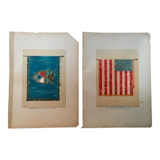 19th Century Americana Lithographs of Civil War Era Military Flags - a Pair For Sale
