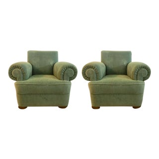 1940s Vintage Jacques Adnet Mohair Velvet Club Chairs- A Pair For Sale