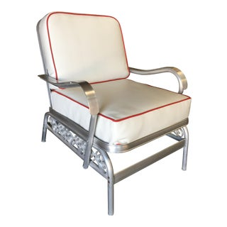Aluminum Patio/Outdoor Lounge Chair W/ Scrolling Side, Circa 1950 For Sale