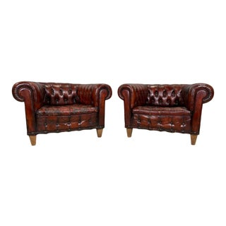 Late 19th Century English Oxblood Red Chesterfield Leather Chairs - A Pair For Sale