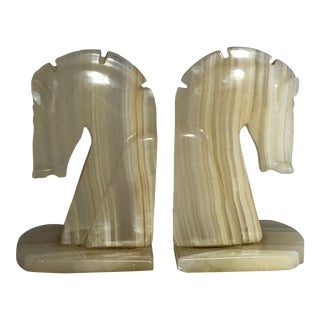 Vintage Marble Horse Head Book Ends Ivory/Tan Color - a Pair For Sale