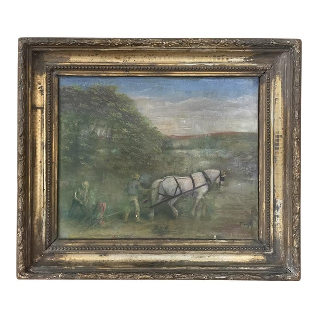 19th Century Framed Oil Painting on Canvas For Sale