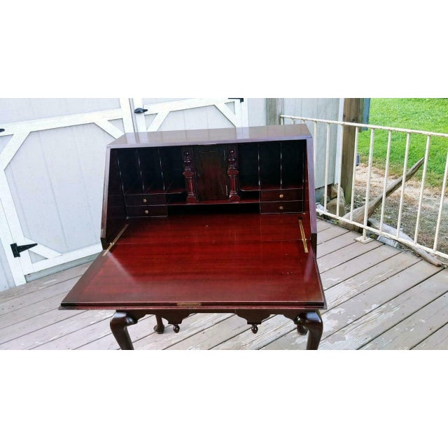 Metal Antique Queen Anne Solid Mahogany Slant Drop Front Secretary Desk For Sale - Image 7 of 13