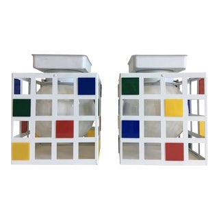 1960s Mondrian-Style Flush Lights - a Pair For Sale