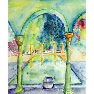 Monique Tachdjian, French Watercolor - Italian Villa Pool For Sale