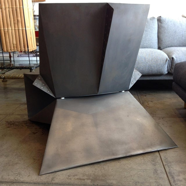 Contemporary Vintage Folded Origami Steel Chair For Sale - Image 3 of 7
