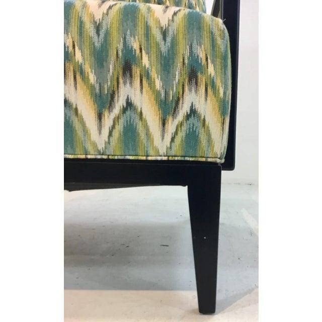 Modern Thomasville Modern Green Herringbone Print Lounge Chair For Sale - Image 3 of 6