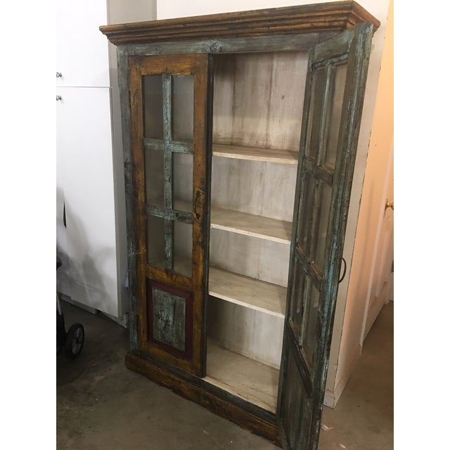 Cottage Antique Painted Cabinet with Glass Doors For Sale - Image 3 of 6 - Antique Painted Cabinet With Glass Doors Chairish