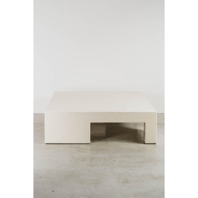 Contemporary Low Square Table With Alternate Legs - Cream Lacquer by Robert Kuo, Limited Edition For Sale - Image 3 of 5