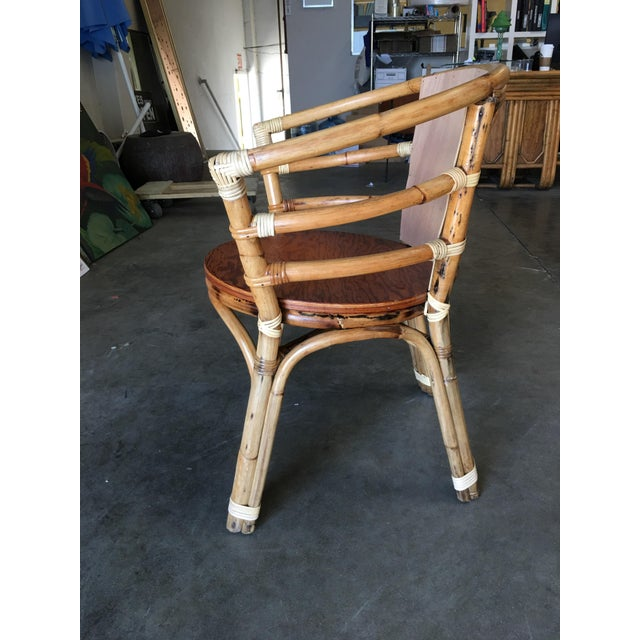 Mid-Century Rattan Barrel Back Armchair W/ Skeleton Arms For Sale - Image 4 of 8