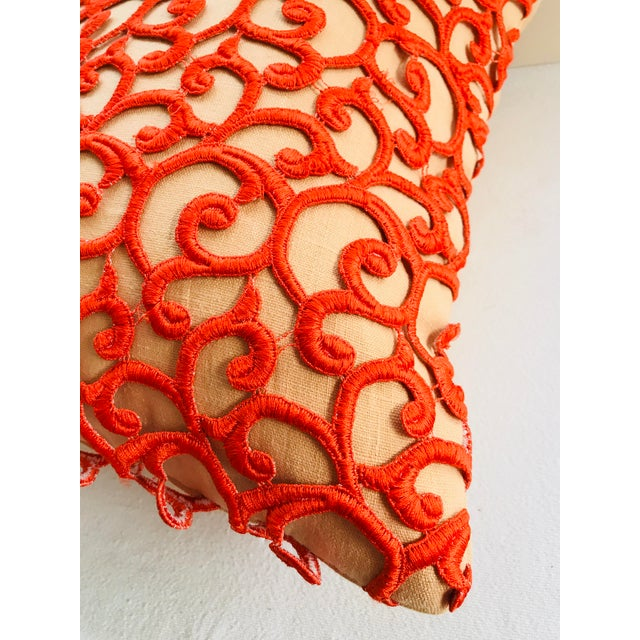 Boho Chic Dransfield & Ross Orange Lace Scroll on Linen Decorative Pillow For Sale - Image 3 of 13