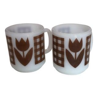 Milk Glass Coffee Cups - Pair