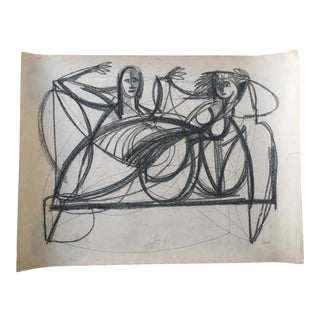 Two Abstract Figures Charcoal on Paper by Robert George Gilberg For Sale
