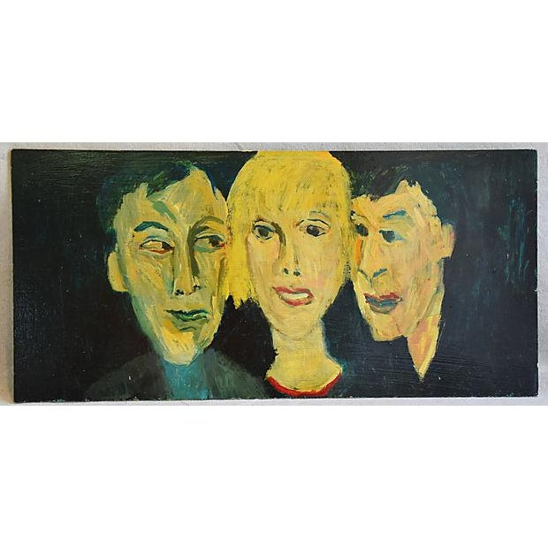 Midcentury Williard Wiener, Abstract Trio of Portraits Oil Painting - Image 4 of 6