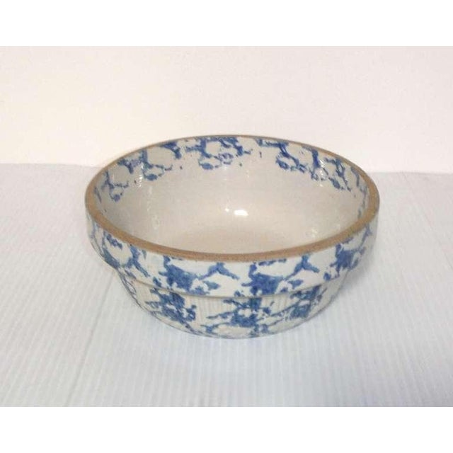 Mid 19th Century 19th Century Blue and White Sponge Ware Pottery Bowl For Sale - Image 5 of 7