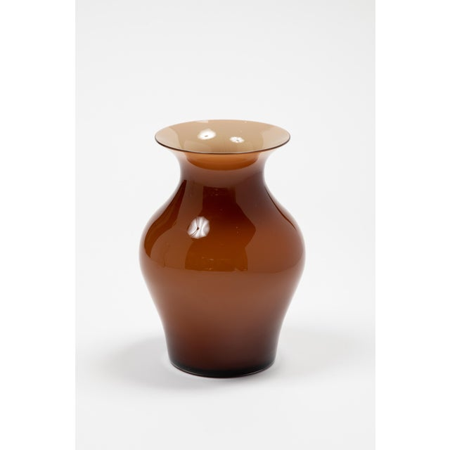 Glass Fortuny by Moretti Madrazo Small Vase in Brown For Sale - Image 7 of 7