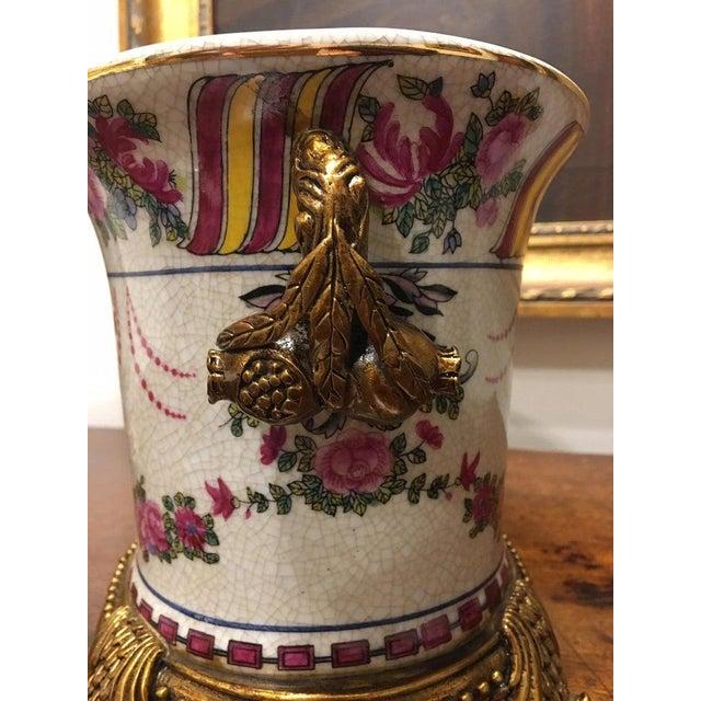 Brass Porcelain Cache Pots or Jardinières with a Floral Motif, 20th Century - A Pair For Sale - Image 8 of 10