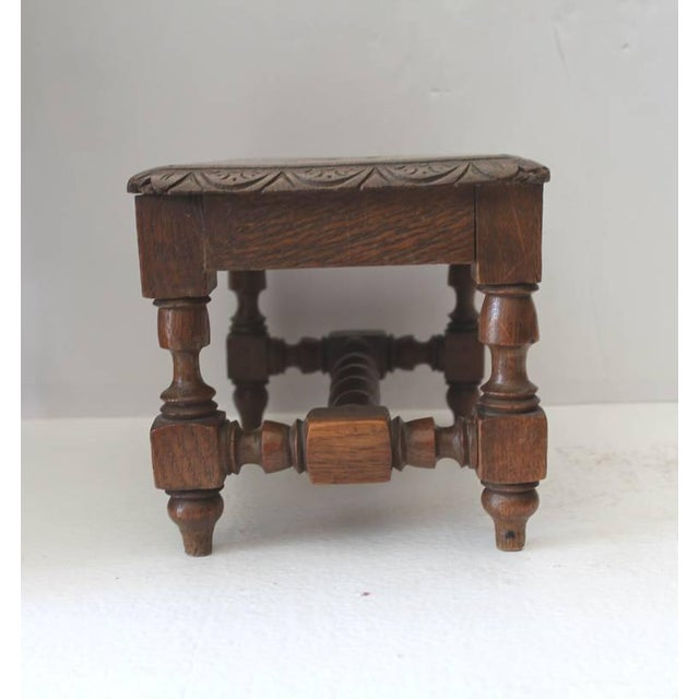 Hand Carved 19Th Century English Foot Stool For Sale - Image 4 of 7