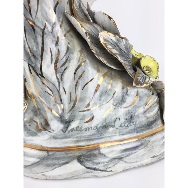 Yellow Hand-Painted Ceramic Crane Sculpture For Sale - Image 8 of 8