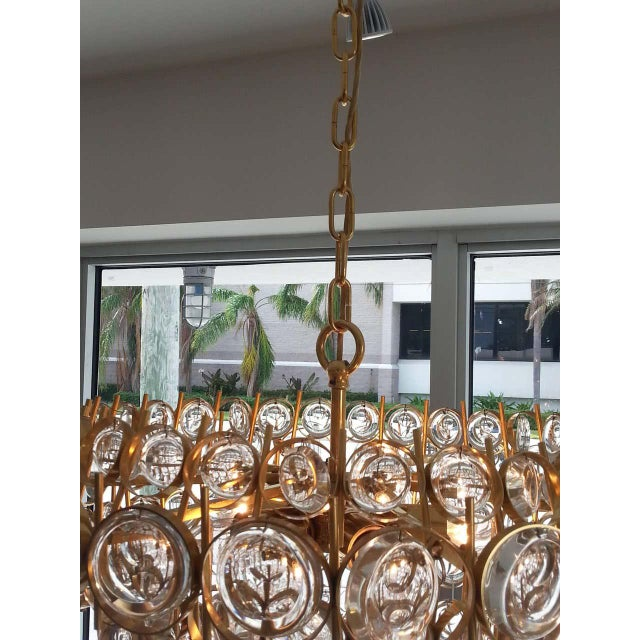 Hollywood Regency Gold Plate and Crystal Chandelier by Palwa For Sale - Image 3 of 12