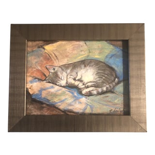 """Original Contemporary Stephen Heigh """"Sleeping Cat"""" Small Painting For Sale"""