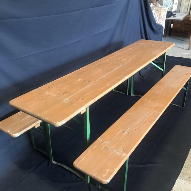 1940s Vintage Collapsible German Beer Garden Table and Bench - a Set For Sale - Image 5 of 7