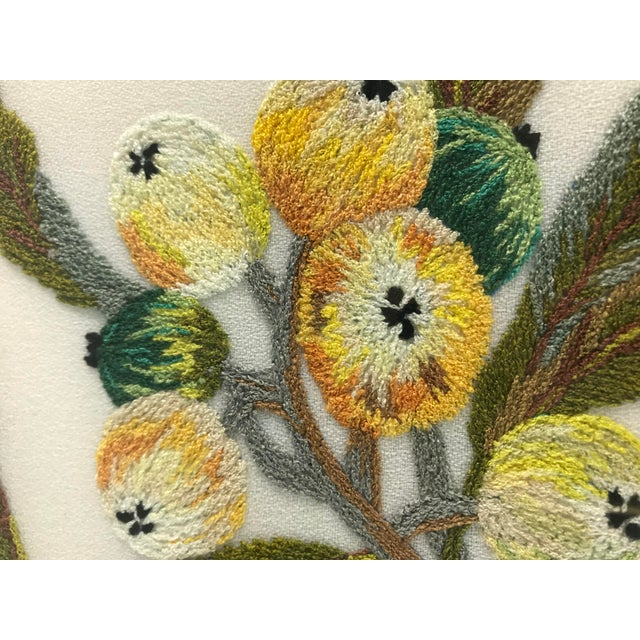 English Traditional Handmade Needlepoint Eucalyptus Branch Art For Sale - Image 3 of 7