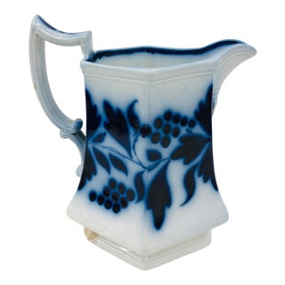 Antique Blue Flow Ironstone Pitcher For Sale