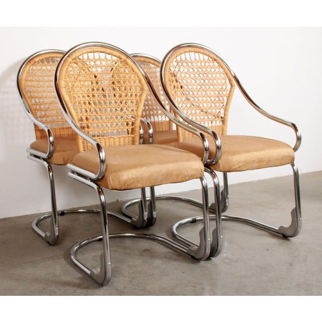 Mid Century Modern Italian Chrome & Woven Rattan Wicker Dining Chairs - Set of 4 For Sale - Image 11 of 11