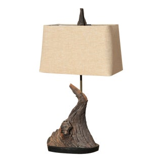 Vintage Mid-Century Driftwood Lamp With Linen Shade Inspired by Those of George Nakashima For Sale