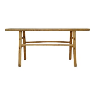 Mid 20th Century Vintage Raw Farm Console Table For Sale