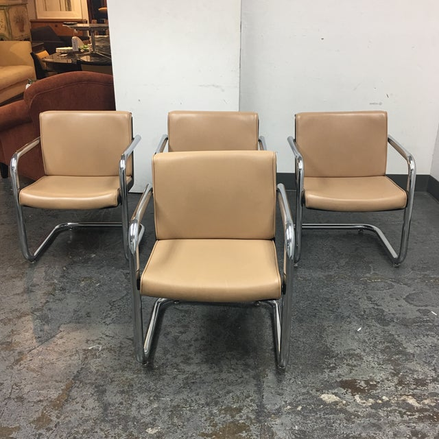 Krueger Tan Faux Leather and Chrome Armchairs - Set of 4 - Image 2 of 7