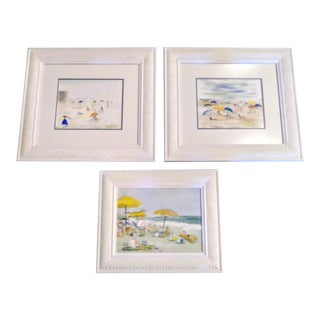 Linda Collins Rehoboth Beach Delaware Tropical Oil Paintings in White Frames Set of 3 For Sale