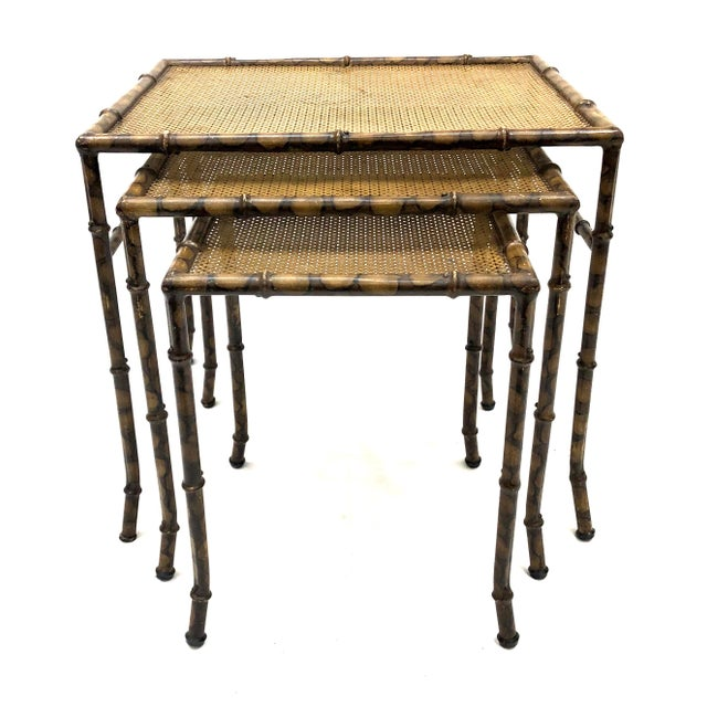 Asian 20th Century Chinoiserie Faux Painted Steel Bamboo Nesting Tables - Set of 3 For Sale - Image 3 of 12