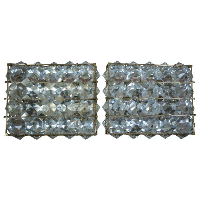 Mid-Century Modern Mid Century Cut Crystal Flush Mounts- A Pair For Sale - Image 3 of 8
